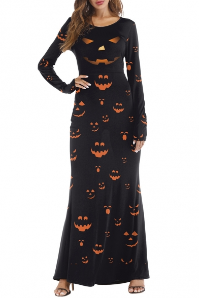 Pumpkin Printed Round Neck Long Sleeve Slim Maxi A-Line Dress