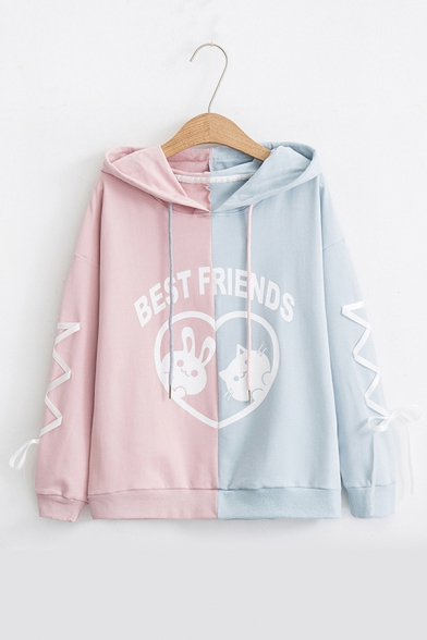 BEST FRIENDS Letter Animal Printed Color Block Lace Up Detail Long Sleeve Hoodie