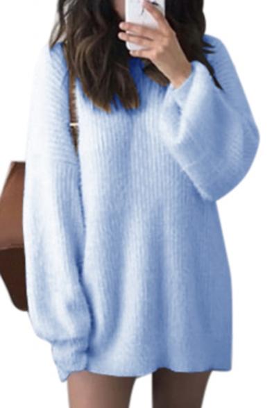 Chic Round Neck Long Sleeve Ribbed Plain Tunic Sweater