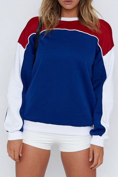 Color Block Round Neck Long Sleeve Contrast Piping Sweatshirt
