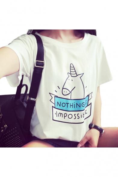 Купить со скидкой Letter Cartoon Unicorn Printed Short Sleeve Round Neck Graphic T-Shirt