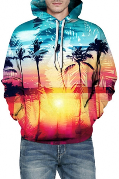 Sunset Landscape Printed Long Sleeve Casual Hoodie