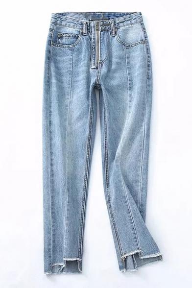Zipper Front High Waist Panel Asymmetric Fringe Cuffs Straight Cropped Jeans
