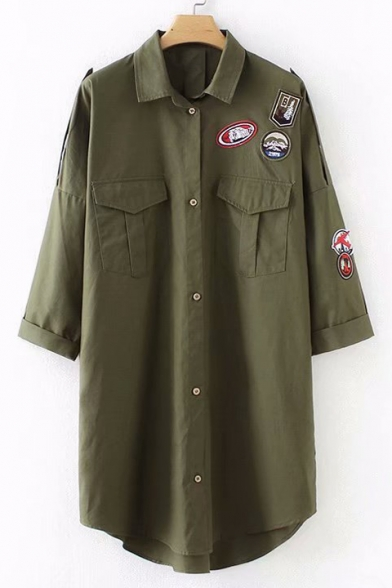 Badge Applique Lapel Collar Long Sleeve Tunic Shirt with Pockets