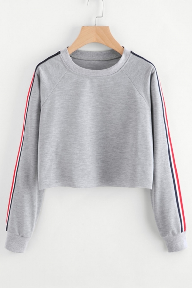 Contrast Striped Long Sleeve Round Neck Leisure Cropped Sweatshirt LC483952 фото