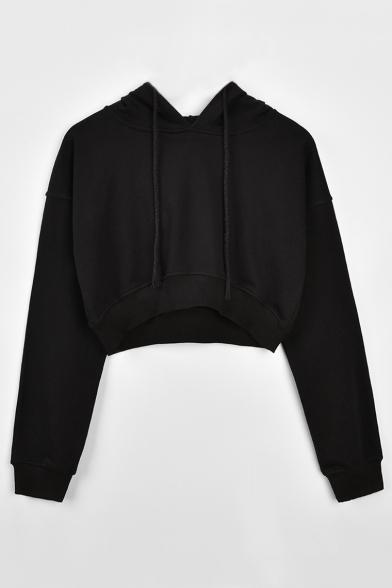 Drawstring Hood Plain Long Sleeve Cropped Hoodie
