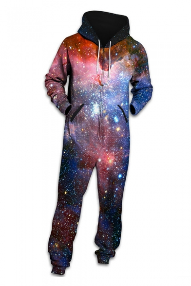 Fancy Galaxy Printed Long Sleeve Hooded Jumpsuit