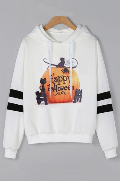 HAPPY HALLOWEEN Letter Pumpkin Cat Printed Long Sleeve Hoodie