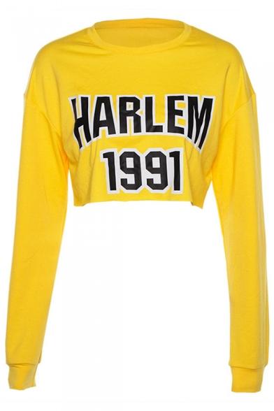 HARLEM Letter Printed Round Neck Long Sleeve Cropped Sweatshirt