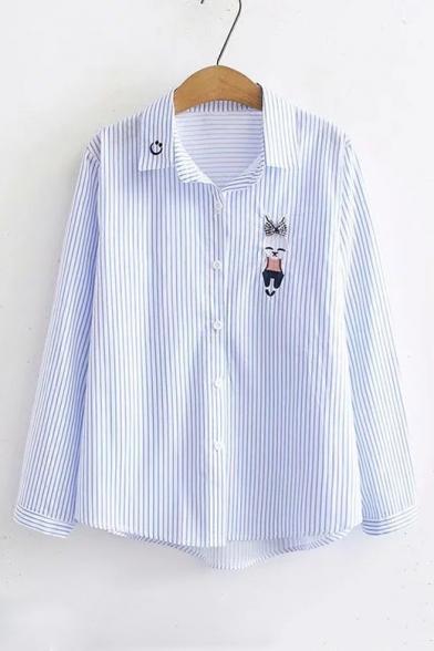 Leisure Lapel Collar Rabbit Embroidered Long Sleeve Button Closure Shirt