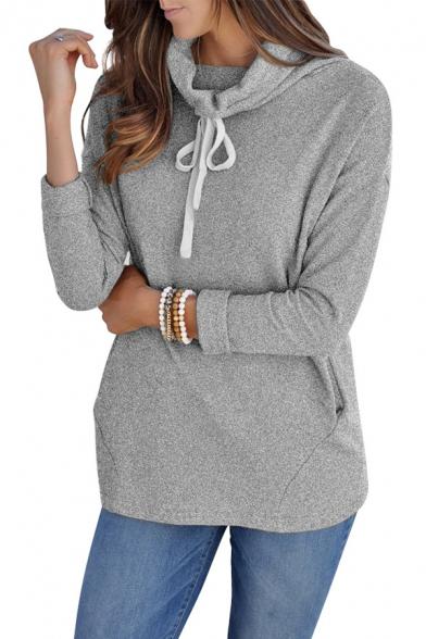 Long Sleeve Drawstring High Neck Leisure Sweatshirt