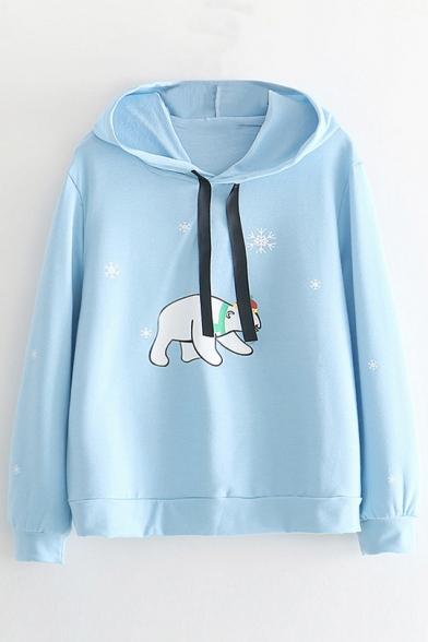Snowflake Bear Printed Long Sleeve Casual Hoodie