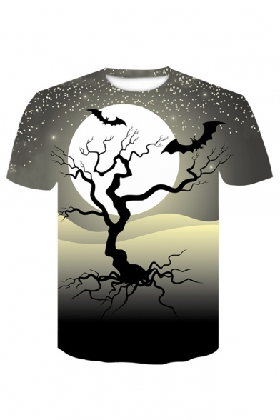 Tree Moon Print Round Neck Short Sleeve T-Shirt, LC485965