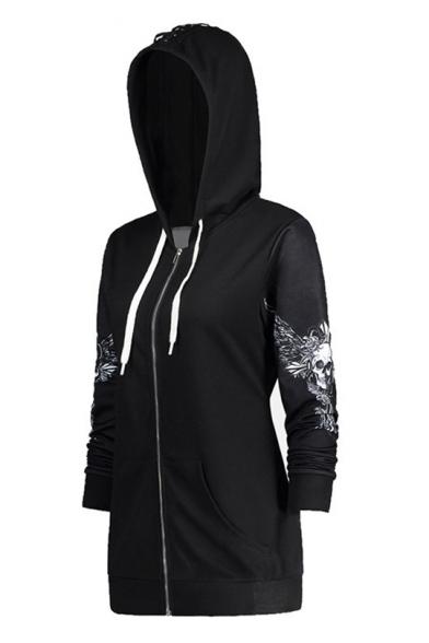 Wing Skull Printed Long Sleeve Zip Up Tunic Hoodie