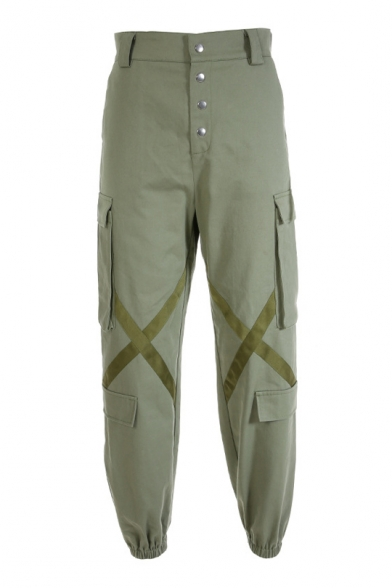 Cross Straps Patched Button Fly Loose Cargo Pants