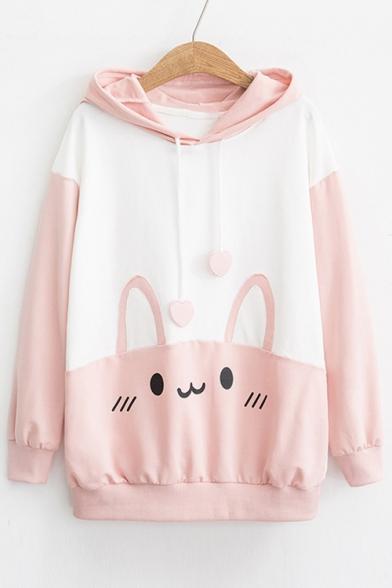 Cute Color Block Rabbit Printed Long Sleeve Casual Hoodie