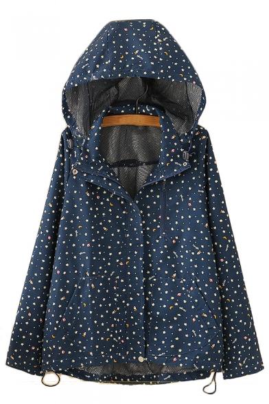 Leisure Star Printed Concealed Zip Placket Long Sleeve Loose Hooded Jacket