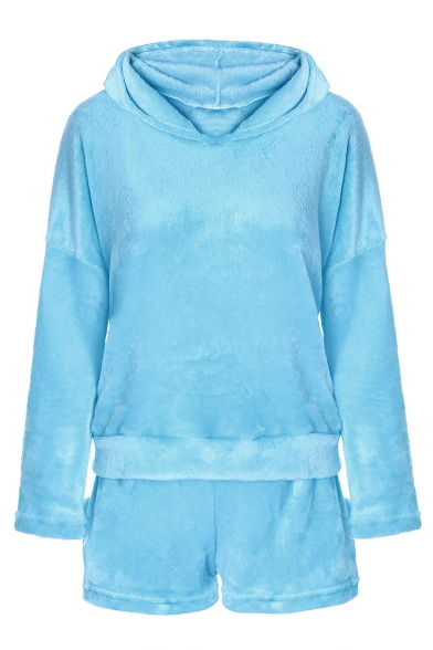 Letter Cat Embroidered Faux Fur Long Sleeve Hoodie with Elastic Waist Shorts Co-ords
