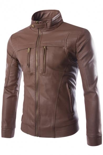 Stand Collar Long Sleeve Zip Closure Slim Plain Leather Jacket