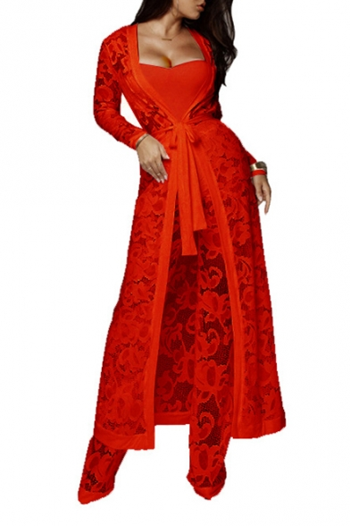 Three Pieces Tunic Long Sleeve Lace Coat Wide Leg High Waist Pants with Bandeau Bodysuit LC482933 фото