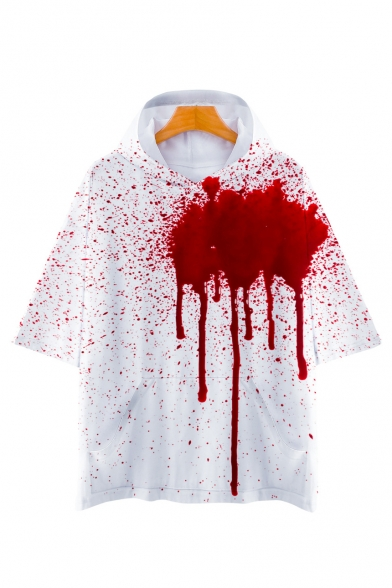 3D Blood Printed Short Sleeve Hooded T-Shirt