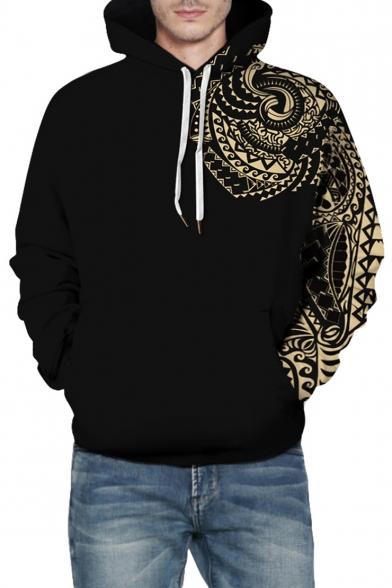 3D Tribal Print Long Sleeve Loose Hoodie for Couple