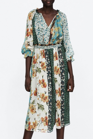 Contrast Floral Printed Long Sleeve Elastic Waist Midi A-Line Dress