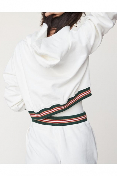 Contrast Striped Rib Knit Trim Cropped Hoodie with Drawstring Waist Leisure Pants Co-ords