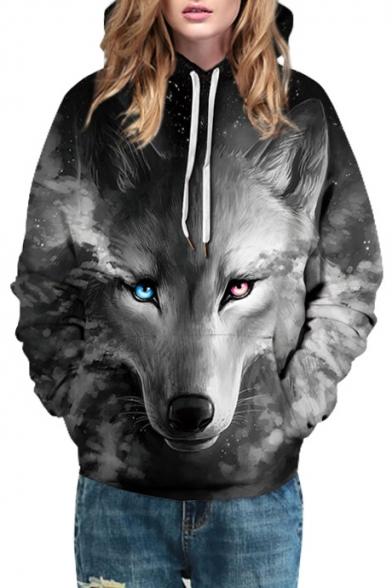 Cool 3D Wolf Print Drawstring Hood Long Sleeve Hoodie