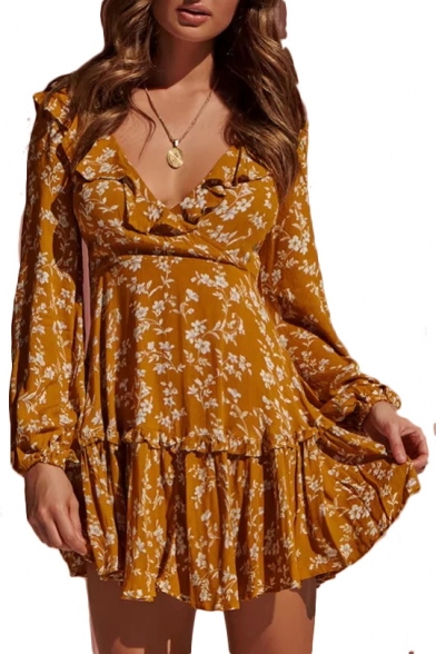 Lace Up Back V Neck Ruffle Detail Floral Printed Long Sleeve Mini A-Line Dress