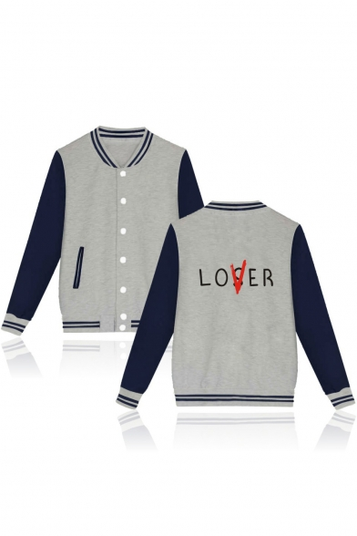 LOVER Letter Printed Contrast Striped Trim Color Block Long Sleeve Button Closure Baseball Jacket