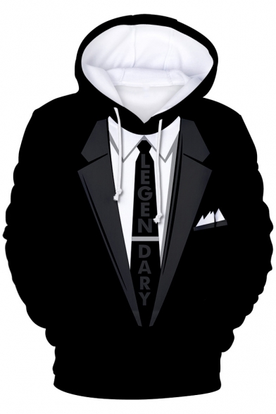 3d Blazer Letter Tie Printed Long Sleeve Oversized Hoodie