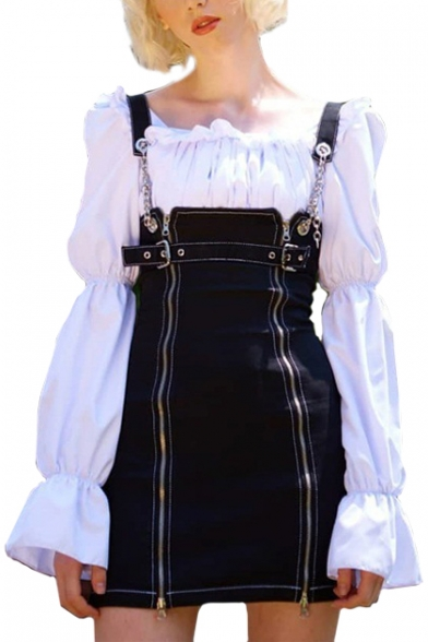 Chic Plain Straps Sleeveless Zipper Front Mini Overall Dress
