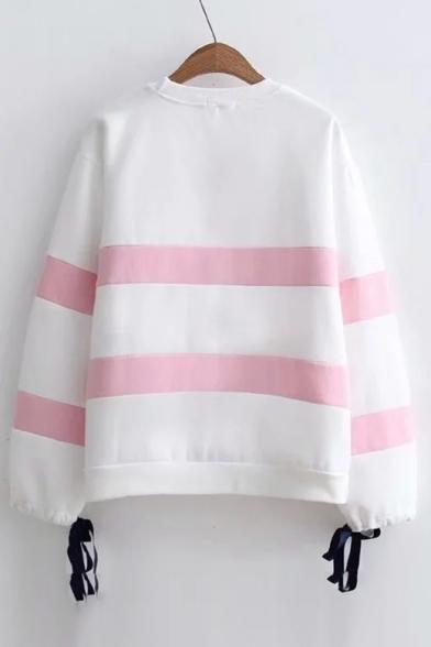 Color Block Striped Round Neck Bow Tie Cuffs Long Sleeve Sweatshirt