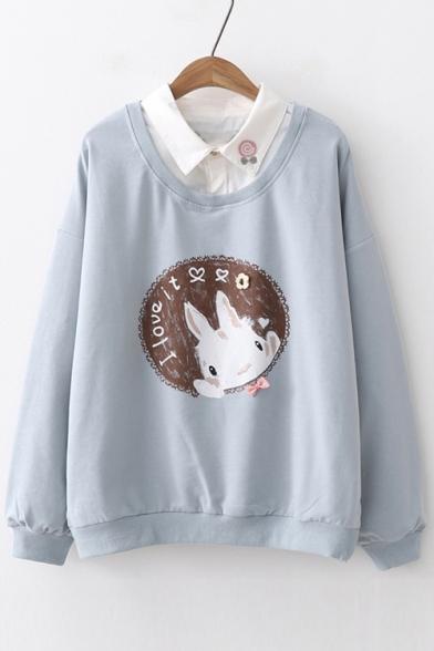 Fake Two Pieces Lapel Collar Letter Rabbit Printed Long Sleeve Sweatshirt
