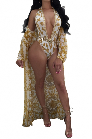 Fashion Print Halter Sleeveless Open Back One Piece Swimwear with Long Sleeve Tunic Cover Up