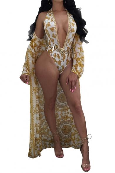 Купить со скидкой Fashion Print Halter Sleeveless Open Back One Piece Swimwear with Long Sleeve Tunic Cover Up