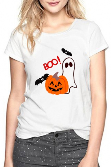 Halloween Series Pumpkin Bat Letter Printed Round Neck Short Sleeve Tee