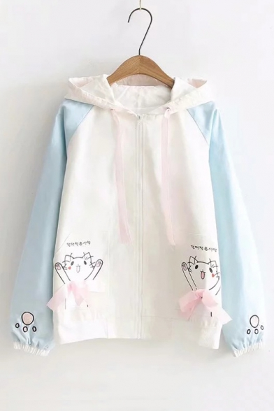 Korean Cat Printed Color Block Long Sleeve Zip Up Hooded Jacket