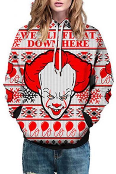 Letter Clown Printed Long Sleeve Casual Hoodie