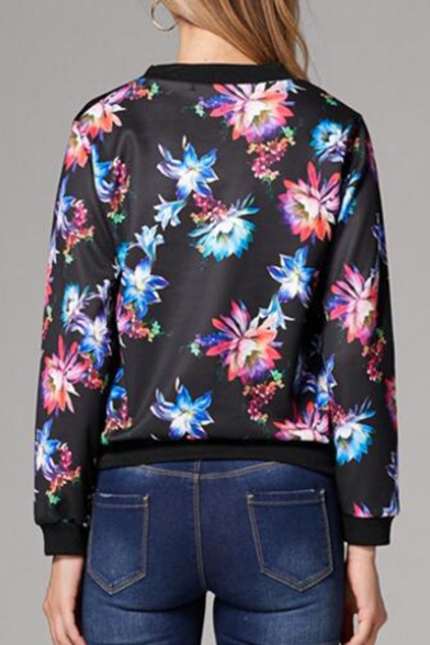 Stand Up Collar Long Sleeve Floral Printed Zip Up Jacket