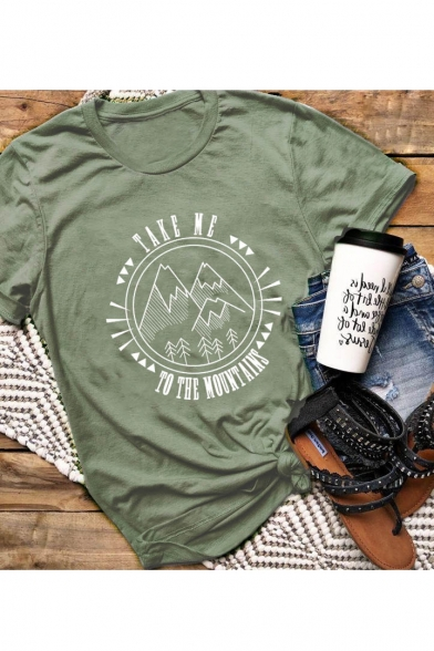TAKE Me Letter Mountain Printed Round Neck Short Sleeve T-Shirt