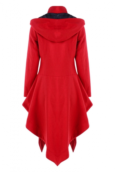Button Front Long Sleeve Plain Asymmetric Hem Hooded Coat