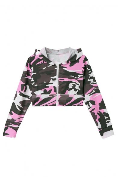 Camouflage Print Long Sleeve Zip Placket Crop Hoodie