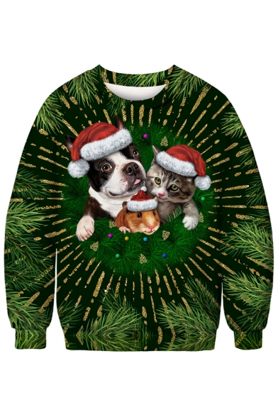 Cute Christmas Animal Printed Round Neck Long Sleeve Sweatshirt, LC482743