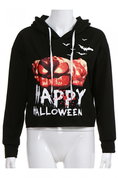 HAPPY HALLOWEEN Letter Pumpkin Printed Long Sleeve Leisure Hoodie