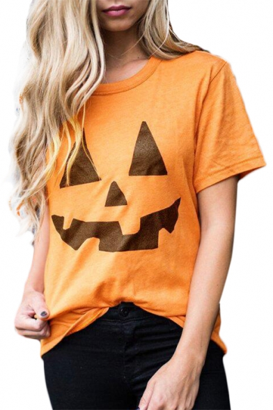 Pumpkin Printed Round Neck Short Sleeve Tee