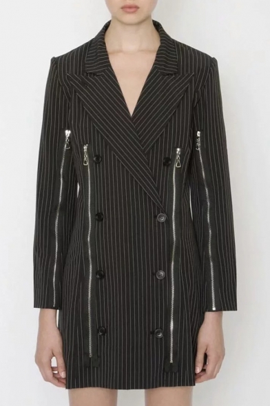 Trendy Peak Notched Lapel Collar Striped Double Breasted Zipper Embellished Tunic Blazer