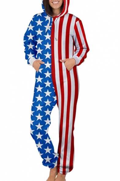 Image of American Flag Contrast Star Striped Printed Long Sleeve Loose Hooded Jumpsuit