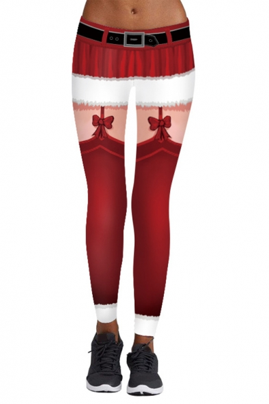 Christmas Series Elastic Waist Color Block Skinny Leggings